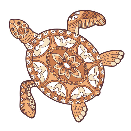 dessin fleur: tortue de mer vecteur doodle illustration