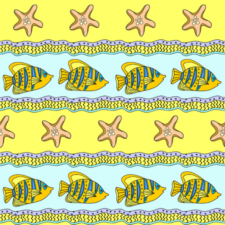 pareo: Sea striped seamless pattern with tropical fishes Illustration
