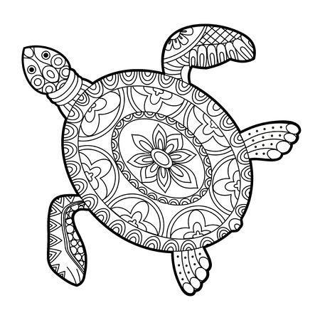 Sea turtle in black and white