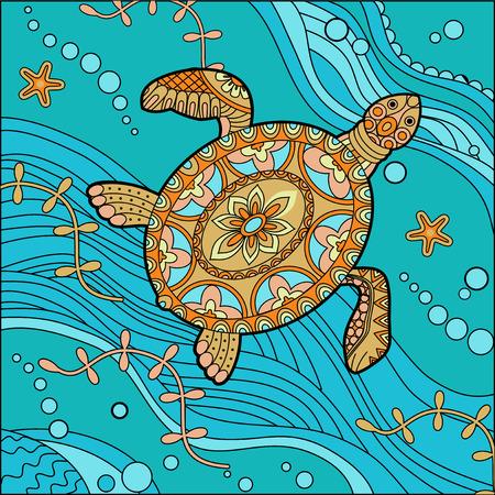 Sea turtle decorative doodle vector illustration