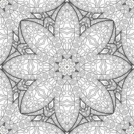 floral carpet: Flower mandala ornament coloring page for adult and children, floral carpet design, abstract vector doodle art print Illustration