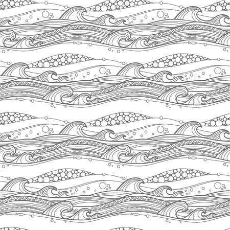 page layout: Sea waves seamless pattern. For coloring pages, backgrounds, fabric, page fill and more. Illustration