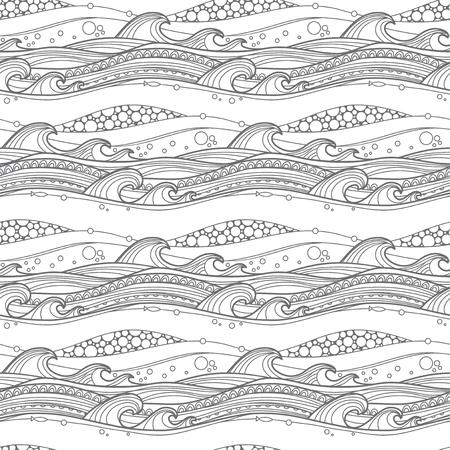 Zee golven naadloos patroon. Voor kleurplaten, achtergronden, stof, pagina te vullen en nog veel meer. Stock Illustratie