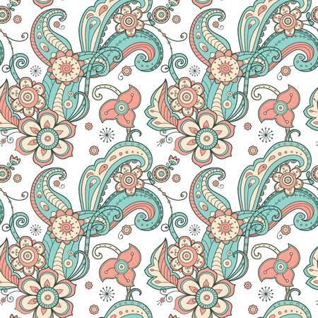 flower patterns: Floral design doodle flowers seamless pattern. For fabric, print, paper, web bacground and other. Illustration