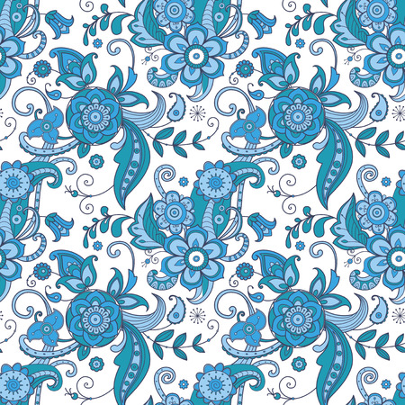 bohemia: Floral seamless pattern in blue and white. Ethnic ornamental background