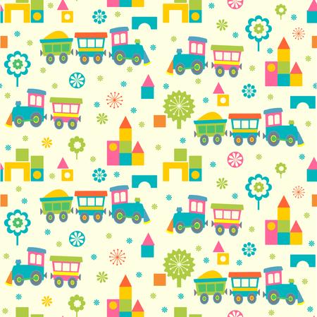 tree design: Cartoon toy trains and bricks seamless pattern