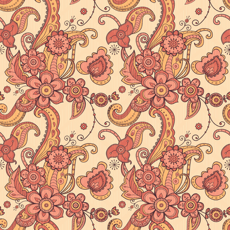 Fabric floral seamless pattern