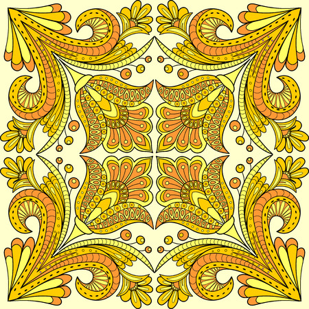 indian summer: Folk style floral design in yellow