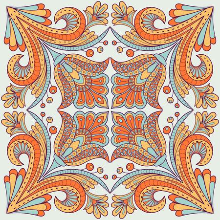pareo: Floral design in folk style Illustration