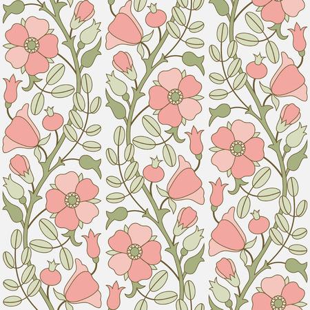 pink background: Dog-rose floral seamless ornamental pattern Illustration