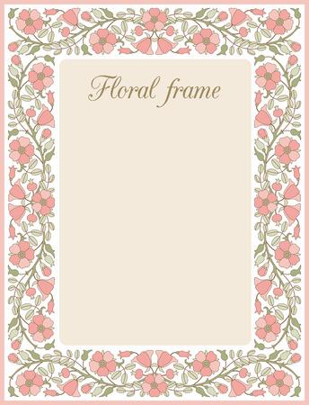 frame flower: Flower frame with dog-rose; template for design