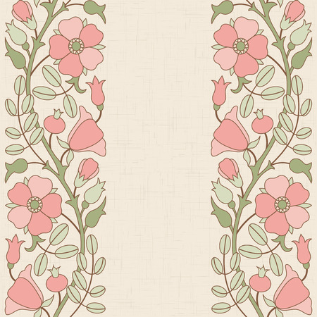 floral border: Dog-rose floral border template; template for design