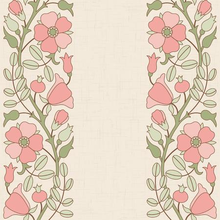 borde de flores: Escaramujo plantilla floral de la frontera; plantilla para el diseño