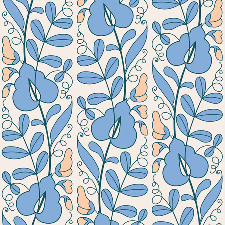 in peas: Blooming peas abstract seamless pattern