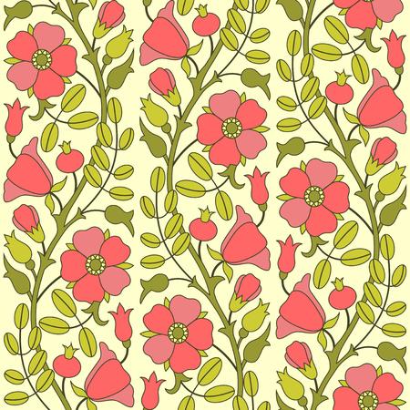 eglantine: Blooming rose hip seamless pattern