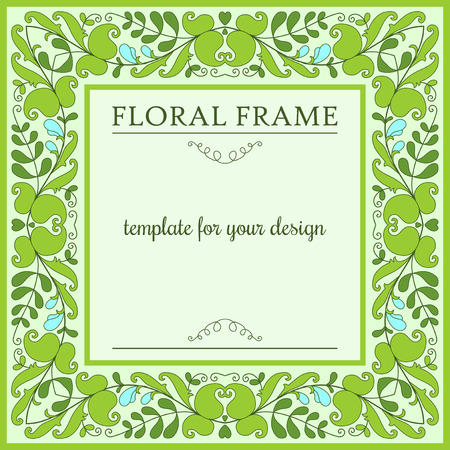 in peas: Floral frame with blooming green peas, template for design