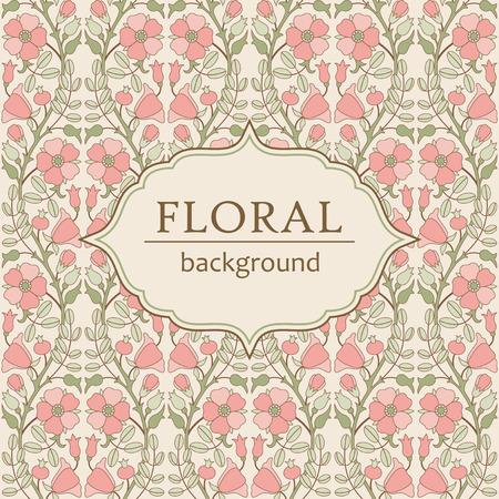 eglantine: Vintage floral background with blooming pink rose hip Illustration