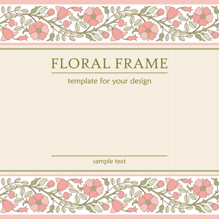 eglantine: Abstract floral background with borders of blooming rose hip