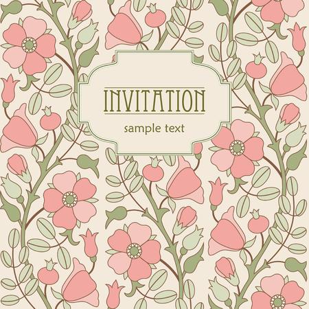 eglantine: Retro floral background with blooming pink rose hip for invitation or card design Illustration