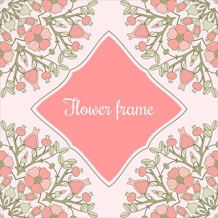 eglantine: Vintage flower frame with bloomibg pink canker-roses