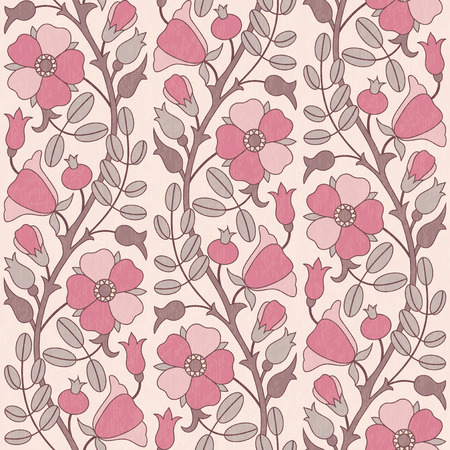 eglantine: Retro floral fabric vector seamless pattern Illustration