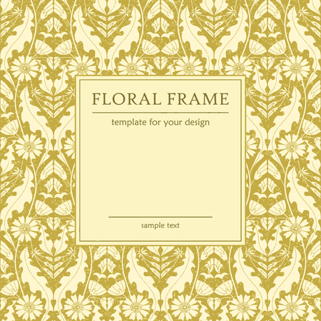 chicory flower: Retro floral frame, template for design