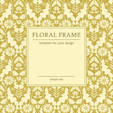 Retro floral frame, template for design