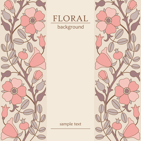 modello di cornice floreale con fioritura rosa canina