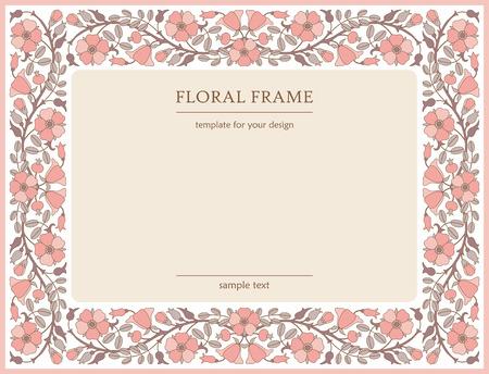 Cornice floreale con fiori rosa canina; modello per la progettazione