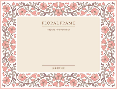 eglantine: Floral frame with dog-rose flowers; template for design Illustration