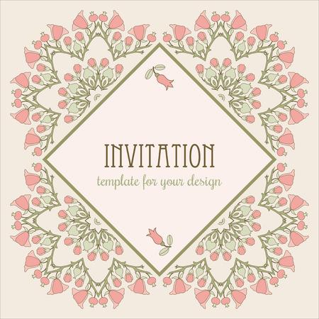 eglantine: Invitation template with pink flowers Illustration