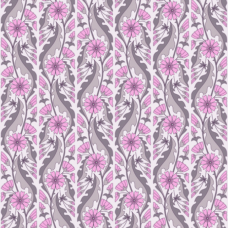 Pink chicory flowers vector floral seamless pattern Ilustracja