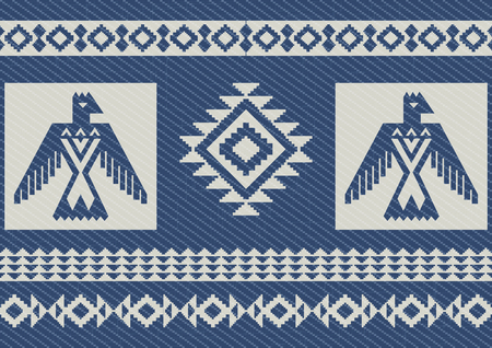 abstract pattern: Abstract ethnic pattern with eagles. Blue denim background