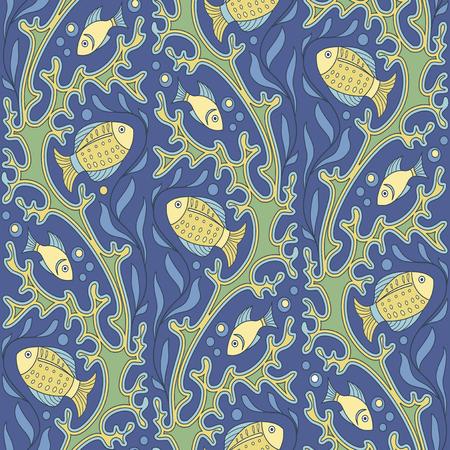 corals: Ornamental fish and corals seamless pattern Illustration