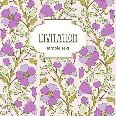 eglantine: Vintage floral background. Template for design