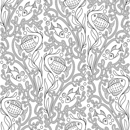 ornamental fish: Ornamental fish and corals black and white seamless pattern Illustration