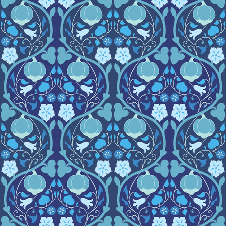 convolvulus: Pumpkin and bindweed seamless pattern in blue