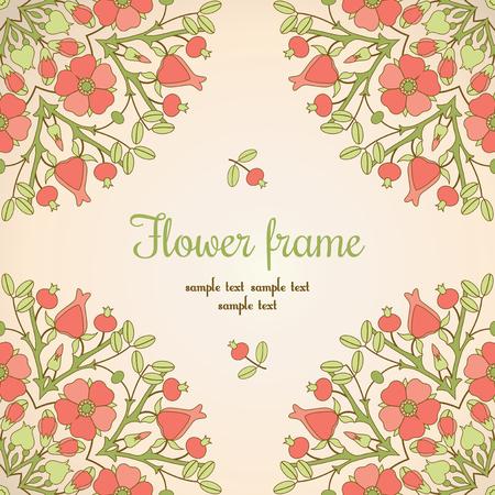 eglantine: Vintage flower frame with pink canker-roses Illustration