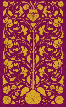 Vintage floral pattern in oriental style. template design element Vector Illustration