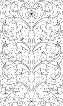 nasturtium: Floral ornament in black and white. Arabian style design. For coloring book, print, card, background and other