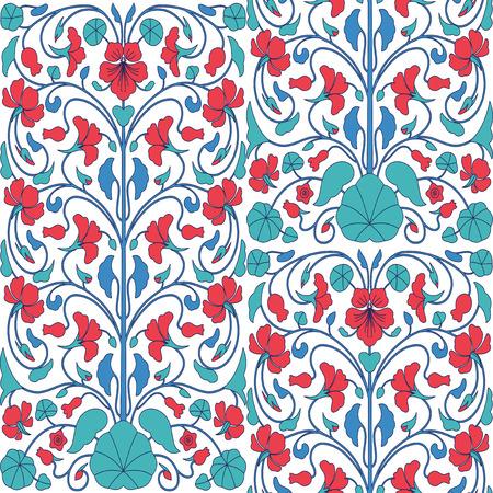 nasturtium: Floral seamless pattern with nasturtium flowers. Arabic style ornamental background