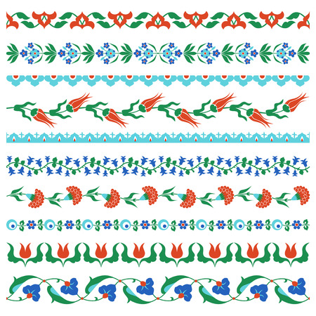earthenware: Set of traditional arabic ornamental borders. Ottoman, Turkish, Iznik traditional tile design