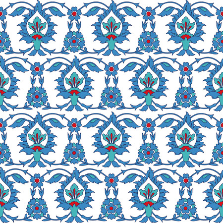 earthenware: Arabic ornamental seamless pattern. Turkish, Iznik traditional tile design. Islamic floral background. Inspired by the Ottoman decorative arts