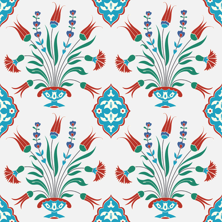 earthenware: Traditional turkish tile design. Islamic, Ottoman, Arabic floral background