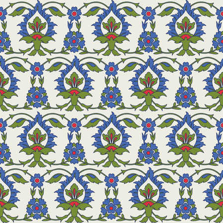 earthenware: Traditional Arabic seamless ornament. Turkish, Iznik traditional tile design. Inspired by the Ottoman decorative arts