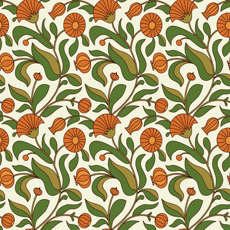 calendula: floral seamless pattern with calendula flowers Illustration