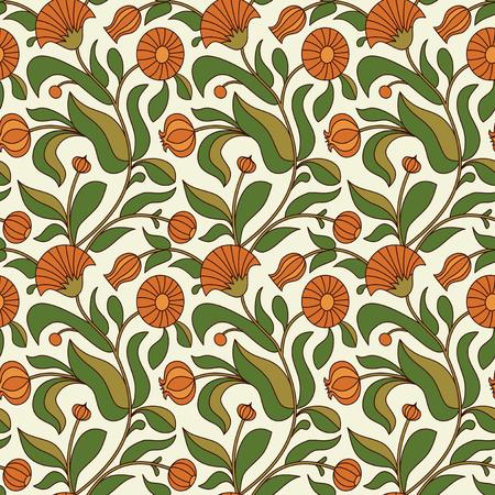 calendula: floral seamless pattern with calendula flowers Illustration