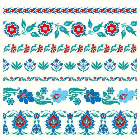 turkish: Set of floral borders in folk style. Ethnic ornament. Arabic, Ottoman, Turkish, Tatar traditional tile design Illustration