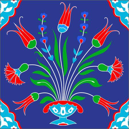 earthenware: Traditional turkish tile design. Islamic, Ottoman, Arabic floral background
