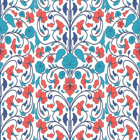 nasturtium: Floral ornamental seamless pattern with nasturtium flowers